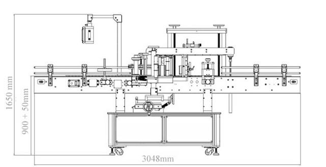 Диаграма на автоматични странични двойни глави плюс машина за етикетиране на кръгли бутилки