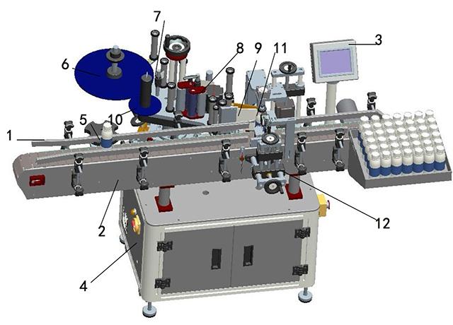 Подробна илюстрация на етикетираща машина