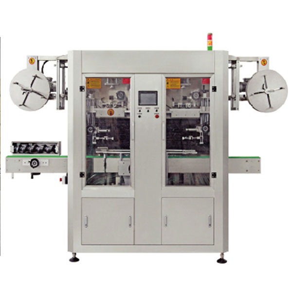 Двулентова автоматична машина за апликация на етикети с PVC сгъваеми ръкави